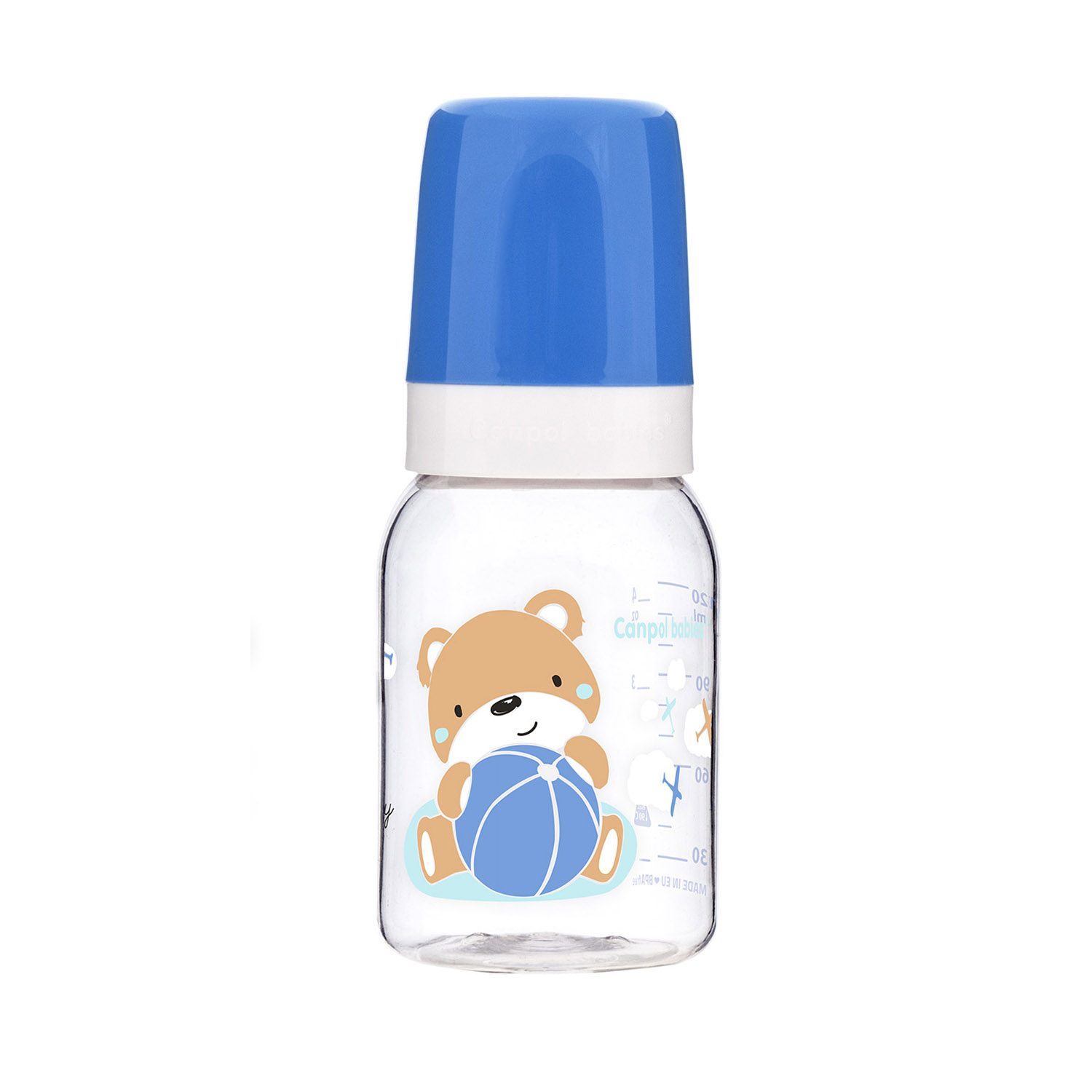 Canpol babies Narrow Neck Bottle 120ml SWEET FUN blue