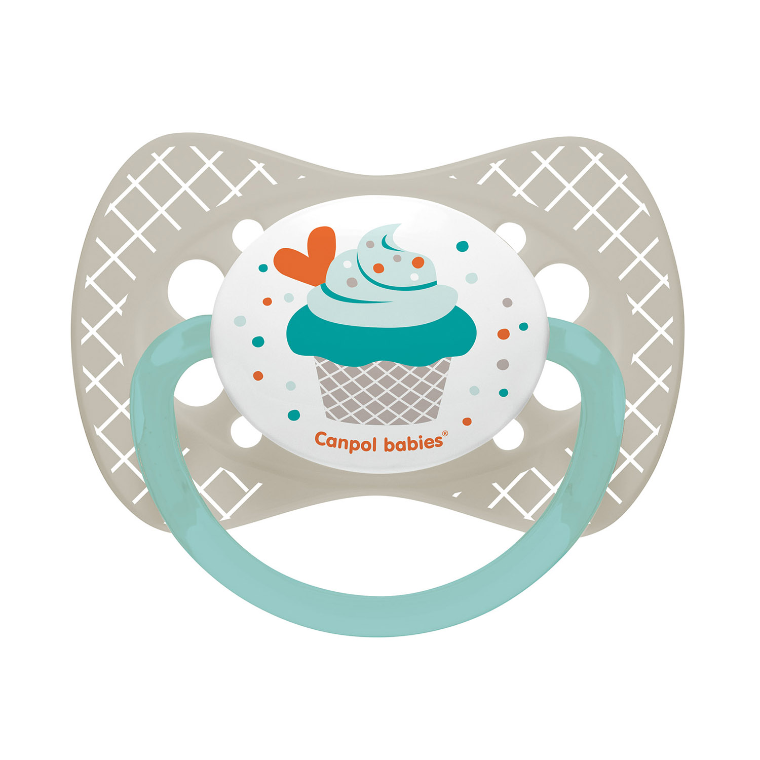 Canpol babies Silicone Symmetrical Soother 0-6m CUPCAKE grey